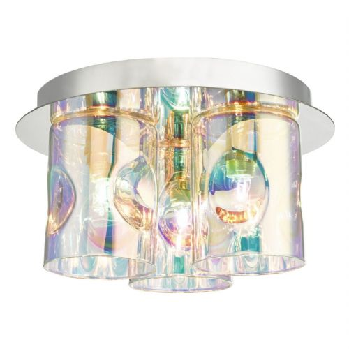 Inter 3 Light Flush Polished Chrome & Iridescent Glass (Double Insulated) BXINT5350-17
